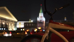 Concept Bike and Night City Traffic near Moscow Kremlin in Blur Stock Footage