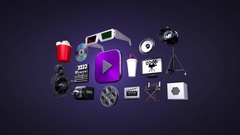 Various movie, drama, download internet service, play icon(included alpha) Stock Footage
