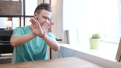 Rejecting, Cross Hands Gesture by Young Man Stock Footage
