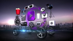 Disassembled car, video entertainment system, movie, future car technology. Stock Footage