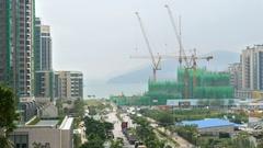 HONG KONG Tseung Kwan O apartment buildings construction Stock Footage