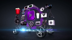 Disassembled car, video entertainment system, movie, black background Stock Footage