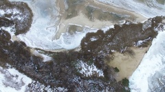 4K Aerial.  Up over small island in frozen sea .Top view  Stock Footage