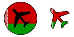Nation flag - Airplane isolated - Belarus Stock Illustration