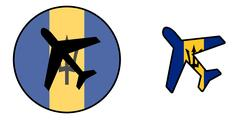 Nation flag - Airplane isolated - Barbados Stock Illustration