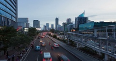 Traffic time lapse in Jakarta during sunset Stock Footage