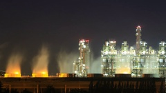 4k Time-lapse of Oil refinery industrial plant with sky at night, Thailand Stock Footage