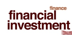 Financial investment animated word cloud. Stock Footage