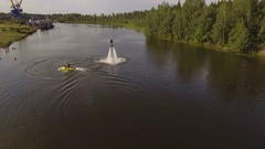 Fly board rider on the river.Aerial video Stock Footage