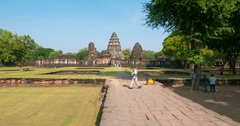 Group of tourist visiting Phimai historical park, Thailand. Stock Footage