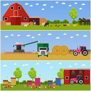 Vector illustration in flat style. Set of farming, wheat harvesting, beekeeping Stock Illustration