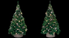 2 New Year Christmas decorated trees with glowing colorful lights Stock Footage