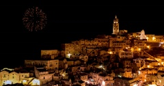 Panoramic view of typical stones (Sassi di Matera) and church of Matera Stock Footage