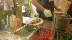 4K Timelapse Fast food Restaurant wrap bread Wraps Rolls in Plaka Athens Greece Arkistovideo