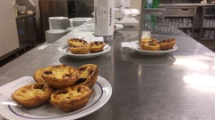 Serving Dessert From Restaurant Counter, Pasteis de Belem Stock Footage