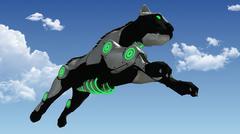 Jumping machine sci-fi panther 3D rendering Piirros