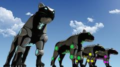 Machine sci-fi panthers 3D rendering Piirros