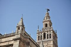 Giralda, famous bell tower of the Seville Cathedral in Spanish city of Sevilla Stock Photos