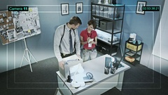 Hidden surveillance camera recording, the work of two detectives Stock Footage
