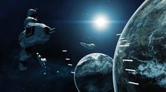 3D rendering of spaceship in battle a cosmic scene Stock Illustration