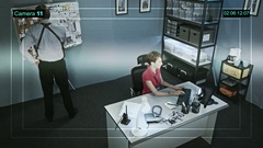 CCTV camera captures the work of the police detective in the online mode Stock Footage