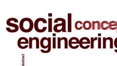 Social engineering animated word cloud. Stock Footage