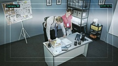 CCTV camera captures the work of policemen and policewoman on police station Stock Footage