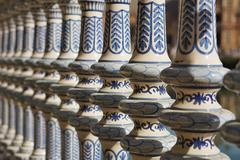 Detail of a ceramic decorated railing (handrail) in Sevilla (Seville) Stock Photos