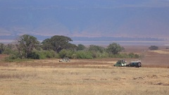 CLOSE UP: Safari jeeps game driving on Ngorongoro crater's floor in Africa Stock Footage