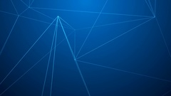 Bright Low polygonal wire frames moving on dark blue background Stock Footage