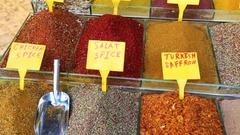 Colorful Spices at Egyptian Market (Spice Bazaar) in Istanbul Stock Footage