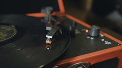 Turntable playing, player needle Stock Footage