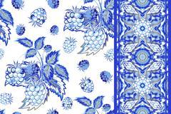 Set of raspberry seamless pattern and border (tape). Blue summer vector Stock Illustration