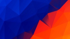 Blue orange color low polygonal moving background Motion graphic Stock Footage
