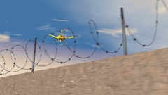 Drone patrolling along a concrete wall, 3D animation Stock Footage