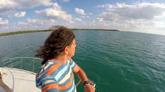Guy enjoying on a speedboat at Atlantic Ocean. Cuba Stock Footage