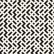 Irregular Maze Lines. Vector Seamless Black and White Pattern Stock Illustration