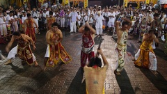 Devotees of Chinese Shrine Flogging Body with Axe at Vegetarian Festival Stock Footage