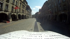 POV of a man riding a tour bike through European city. Stock Footage