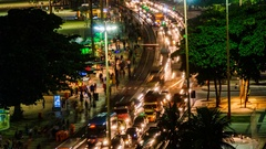 Time lapse, evening traffic of people and cars, Copacabana beach, Rio de Janeiro Stock Footage
