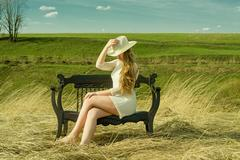 Beautiful mysterious girl on the nature Stock Photos