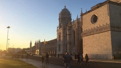 Anonymous Crowd In Front of Famous Monastery In Portugal Stock Footage
