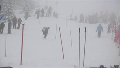 Atmosphere on the ski slope with people and heavy fog 74 Stock Footage