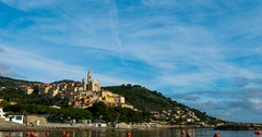 The historical town of Cervo, Liguria, Italy Stock Footage