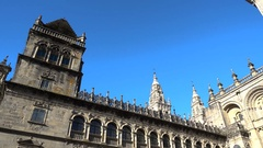 Lateral side and entrance of the cathedral in Santiago de Compostela Stock Footage