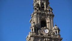Detail of the bell tower on the rear side of the cathedral of Santiago de Compos Stock Footage