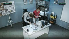 Police detectives at work. CCTV camera captures. Stock Footage