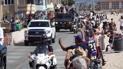 The Los Angeles Kings hockey team celebrate winning the NHL championship Stanley Stock Footage