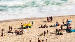 Time lapse of people on a beach, Rio de Janeiro, Brazil Stock Footage