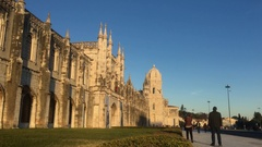 Famous Lisbon Monument In Belem, Jeronimos Monatery Stock Footage
